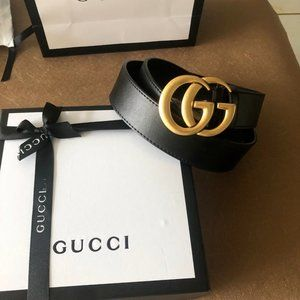 Gucci Belts. Leather with Gold Buckle.